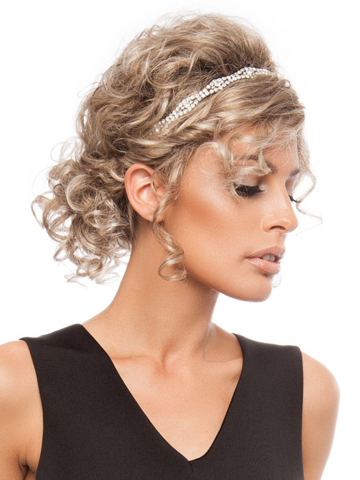 Pin into a low up-do using bobby pins, add a head bead to complete the look | Color: Light Champagne Rooted