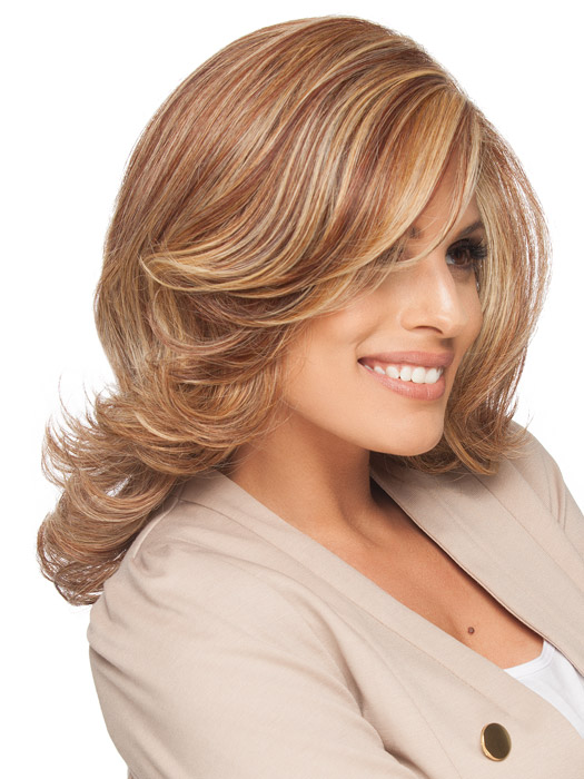 Monofilament part creates the appearance of natural hair growth where the hair is parted on the left