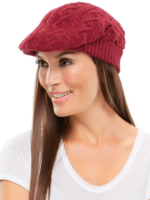 Cable Knit Gatsby Hat by Jon Renau | Color Burgundy