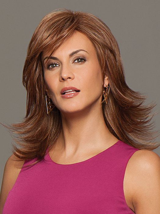 A mid-length, all-over layered shag with side part and full sweeping fringe | Color: Medium Red