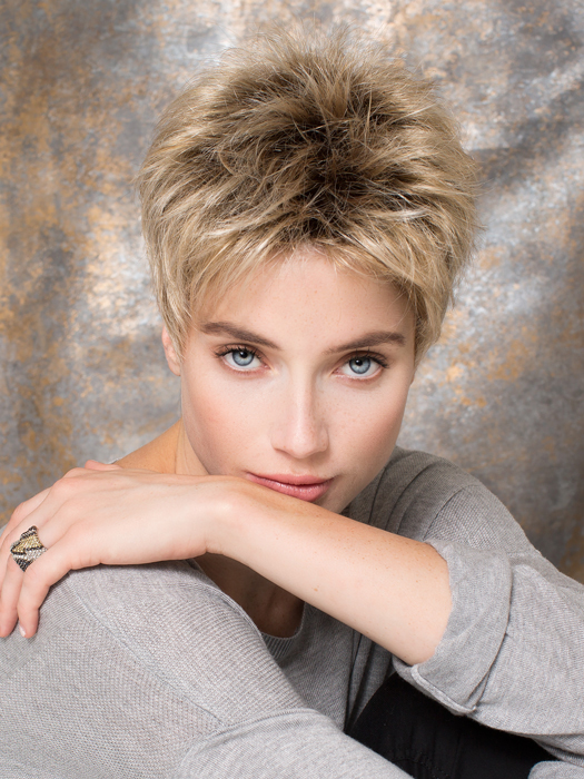 Golf is a short rebellious wig with loads of personality and femininity | Color: Sandy Blonde Rooted