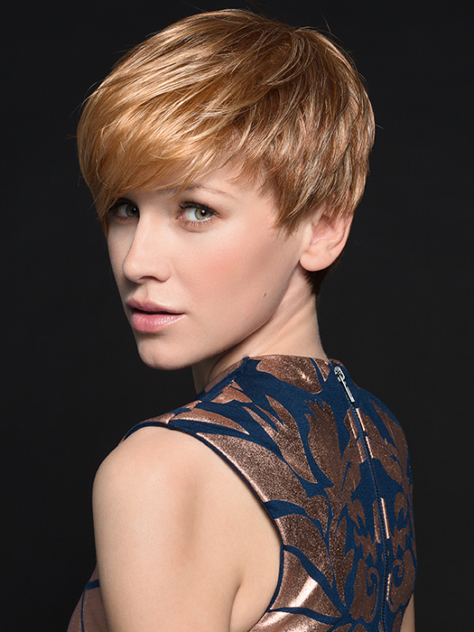 Point by Ellen Wille is an asymmetrical, cropped cut style | Color: Light Mango Mix