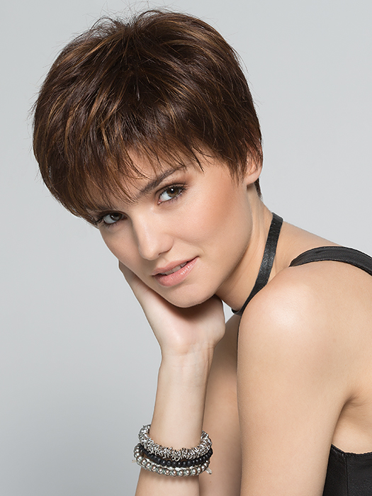 Light, pixie-cut wig that delivers a clean and open style | Color: Mocca-Rooted