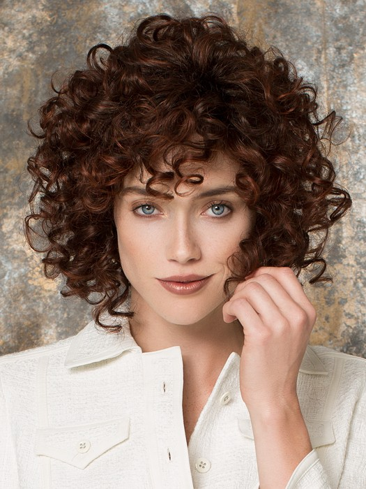 Soft curls are full and voluminous | Color: Auburn Rooted