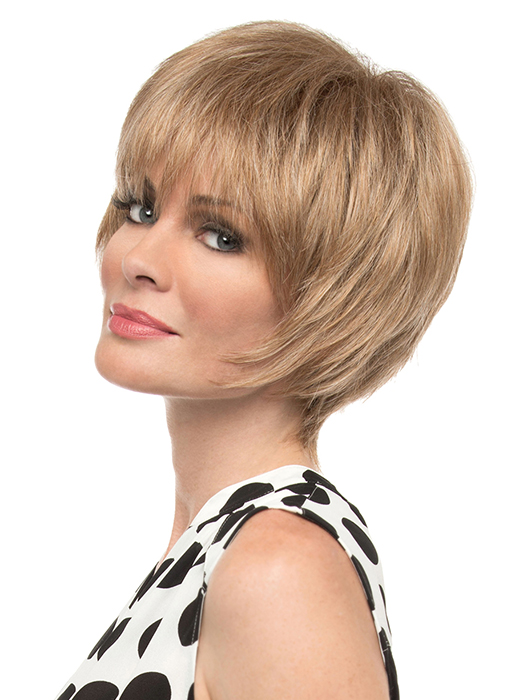 A flattering short style with tons of face framing fringe. | Color: Dark Blonde