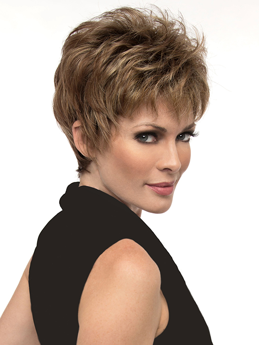 Wispy bangs and the perfect layering to accentuate your cheekbones | Color: Chocolate Caramel