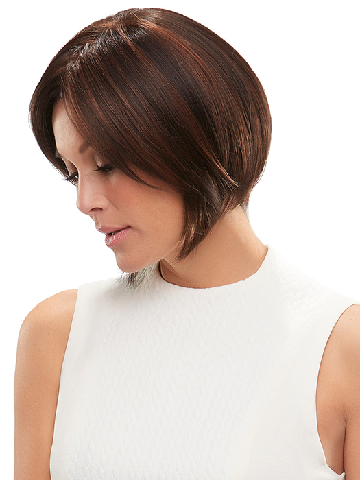 Dark Brown,  w/ Med Natural Red Blonde/Brown Blend Bold Highlights| Color: FS4/33/30A - Midnight Cocoa