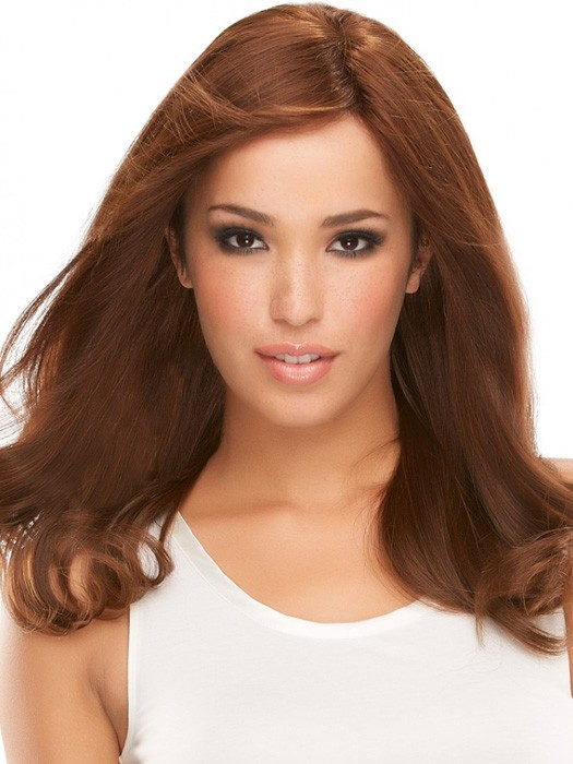 Angie Exclusive by Jon Renau: Color 8RN, hair is pre-permed to hold body and curl when styled