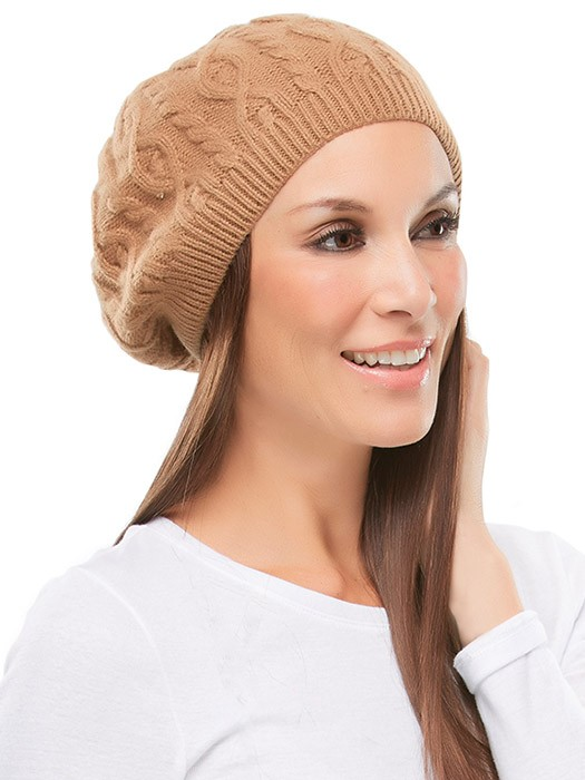 Cable Knit Beret by Jon Renau | Color Tan