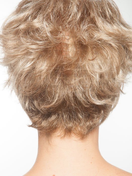 Hair density combined with an open cap may cause wefting to be more visible in this style