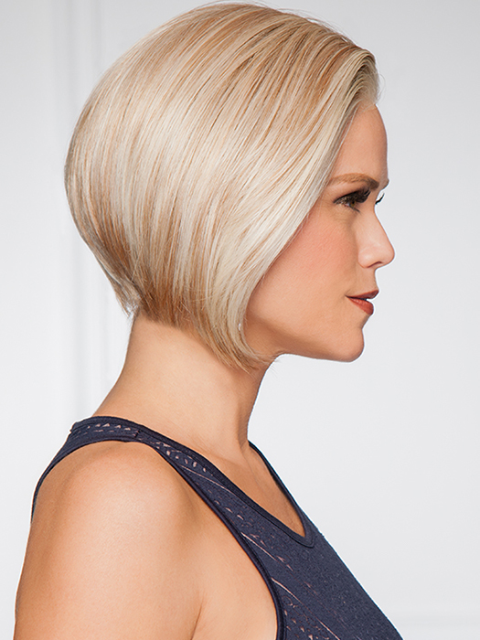 Side-swept front that angles up to a short nape | Color: GL14/22 Sandy Blonde- golden blonde with palest blonde highlights