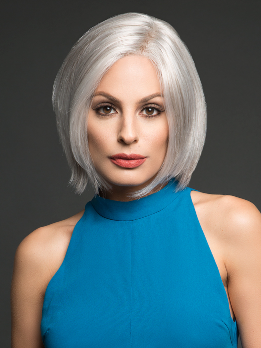 The hand-tied monofiliment top gives the look of your own hair right where its parted | Top Color: GL56/60 Sugared Silver- Light silver grey