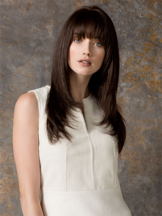 Shown here in ESPRESSO-MIX with a professionally trimmed bang and flatironed for a sleek look