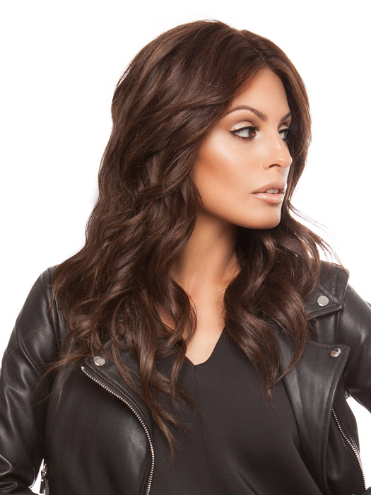 Wigs.com Exclusive Photo | Center Part and Curled | Color: Dark Chocolate Mix
