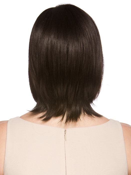 "Natural mid-length style with longer layers measuring 9.5"" from the crown"
