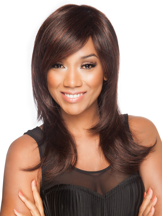 Side bang and long layers are flattering on all face shapes | Color: Dark Auburn Mix