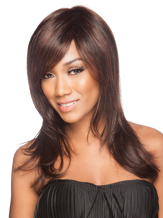 The monofilament crown is sheer and blends in with all skin tones | Color: Dark Auburn Mix