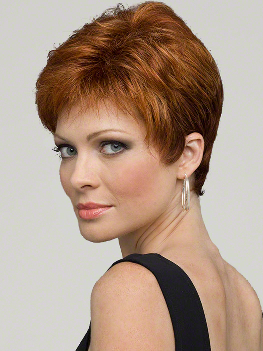 Envy Jeannie Wig : Left Profile | Color LIGHTER RED