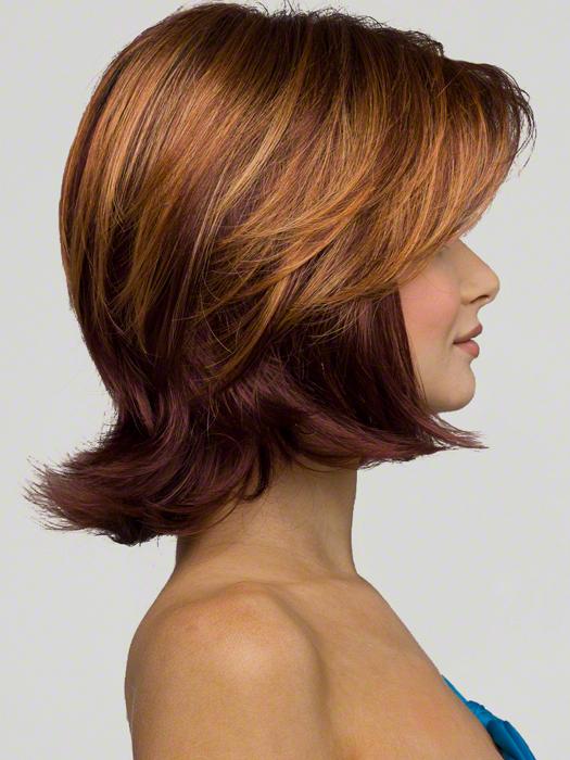 Envy Taylor Wig : Profile View | Color : CINNAMON RAISIN