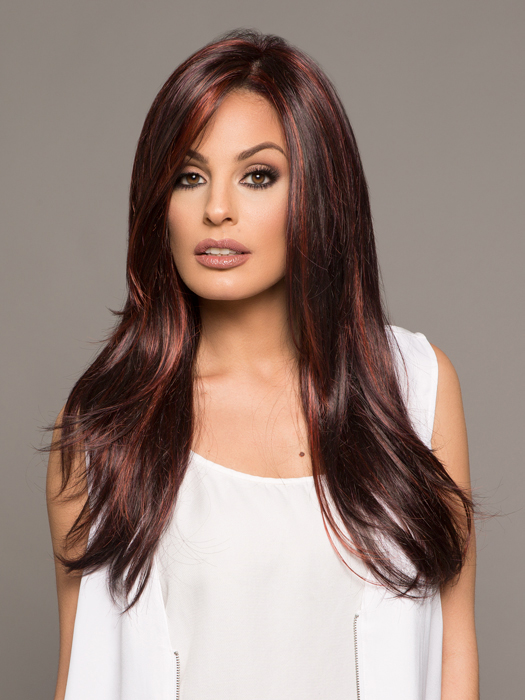 This flirty and feminine style features a monofilament top and ready-to-wear lace front | Color: FS2V/31V- Chocolate Cherry