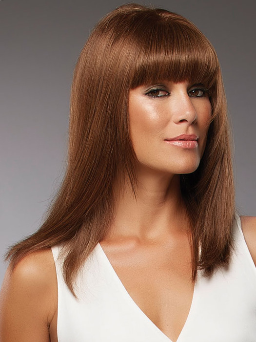 Human hair can be cut into any style | Shown with full bangs trimmed by a professional | Color: 4/27/30