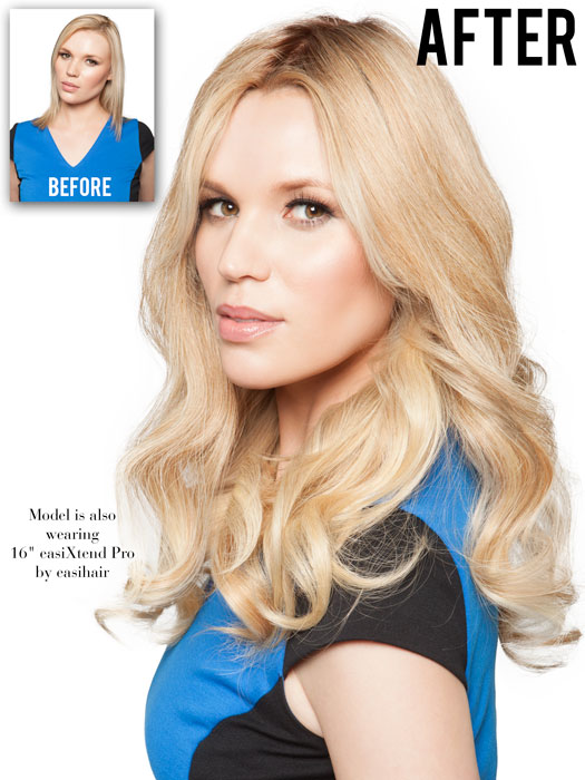 """If your hair is short, add the 16"""" EasiXtend Human Hair extensions 