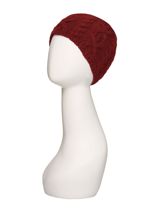 Cable Knit Beanie by Jon Renau | Color Burgundy