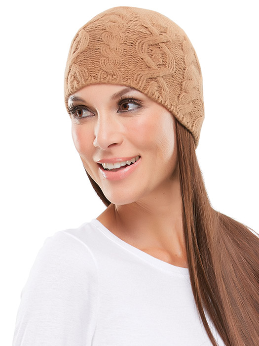 Cable Knit Beanie by Jon Renau | Color Tan