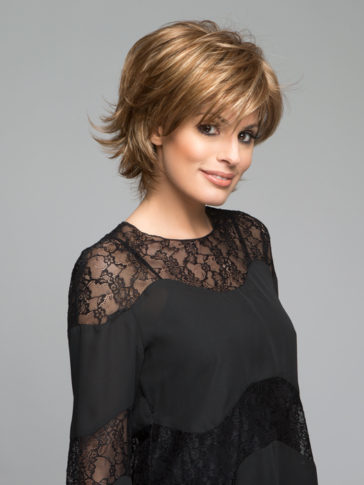 Top Color: Maple Sugar-R | Light Reddish Brown with Gold Blonde Highlights & Dark Brown Roots