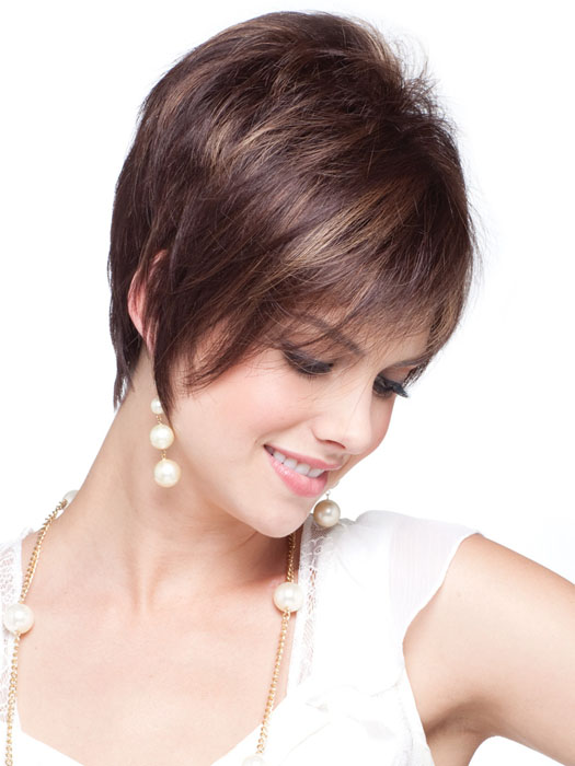 Striking asymmetrical bob with heavily razored layers.