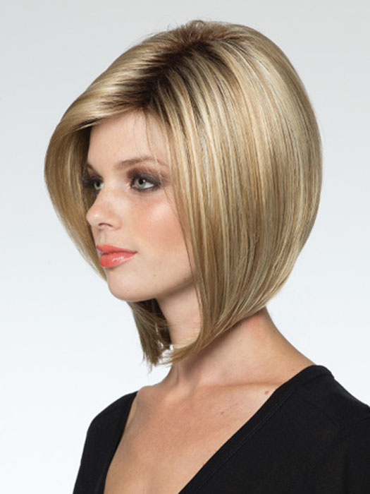 The perfect bob.  | Color Creamy-Toffee-R Platinum blonde & light honey blonde blend with dark brown roots.