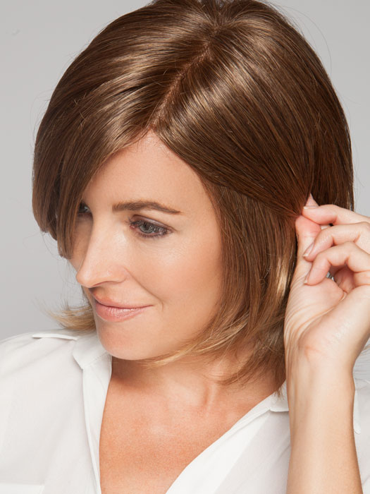 Hand-Tied Double Monofilament top gives a scalp-like appearance | Color: Marble Brown