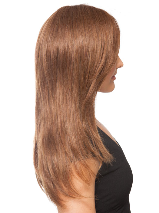 Human Hair is best blow dried and heat styled for a gorgeous silky finish! Shown here flatironed for a sleek look