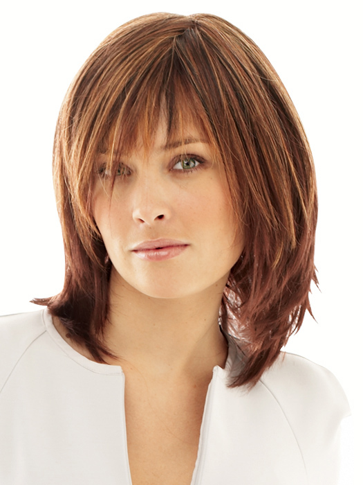 Infatuation by Raquel Welch: Color R3329S - Glazed Auburn (Rich Dark Reddish Brown with  Pale Peach Blonde highlights)