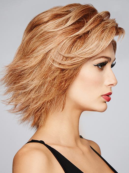 Short, layered, and luxurious human hair wig | Color: R29S+