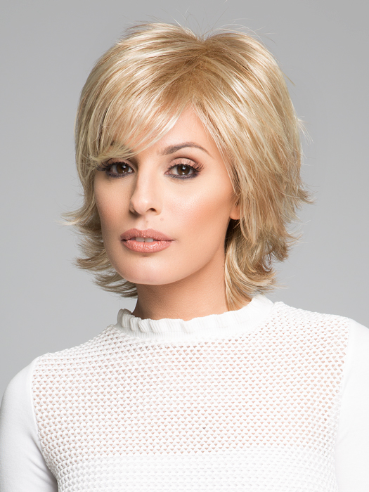 Top Color: SS14/88H Golden Wheat- Medium Blonde Streaked with Pale Gold Blonde Highlights Shaded with Medium Brown Roots